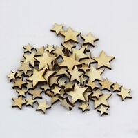 50 PCS Lot Artcuts Mini Mixed Wooden Stars Embellishments for Craft Decor-DIY