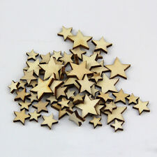 50 Pcs Lot Artcuts Mini Mixed Wooden Stars Embellishments for Craft Decor DIY