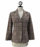 VTG Pendleton 100% Virgin Wool Plaid Blazer Jacket Women's Neutral Academia Sz 8