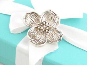 Auth Tiffany & Co Silver Dogwood Flower Brooch Pin