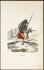 1844 - Zouaves - Gravure uniforme militaire en couleurs. Algérie