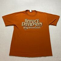Harley Davidson T-Shirt Size L Orange Florida Double Sided Short Sleeve Mens