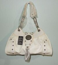 NEW SHARIF WHITE LEATHER & PATENT SATCHEL HANDBAG PURSE W/SILVER HARDWARE NICE