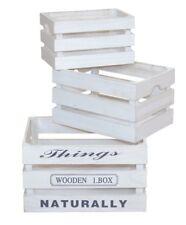 Holzkisten 3er-Set Holzkiste Allzeckkiste Kisten Aufbewahrungsbox Farbe: Weiß