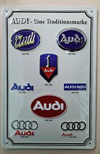Audi Blechschild, Audi - Eine Traditionsmarke, 20x 30cm