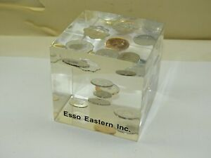 ESSO Eastern Lucite Block Paperweight Encased Foreign Coins Exxon Mobil Vintage