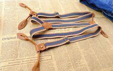 Mens Unisex Blue Striped Adjustable Six Button Holes Suspenders Braces BDXJ2533