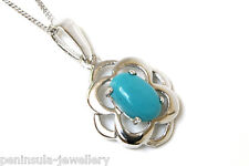 9ct White Gold Celtic Turquoise Pendant and Chain Gift Boxed Necklace Made in UK