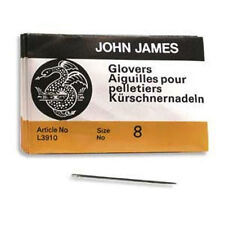 25 SIZE EIGHT (#8) John James English GLOVERS NEEDLES - Perfect for Leather!