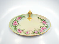Antique Guerin Limoges France Hand Painted Pink Roses Gold Handle Vanity Tray