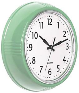 Bernhard Products Retro Wall Clock 9.5 Inch Green Kitchen 50's Vintage Design