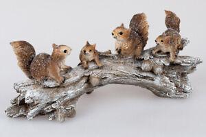 Formano Eichhörnchen Gruppe Winterzeit auf Ast L. 30cm braun Deko 767158