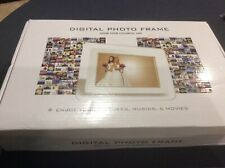 """10"""" White Digital Photo Frame With Remote Control Table Or Wall Mount New In Box"""