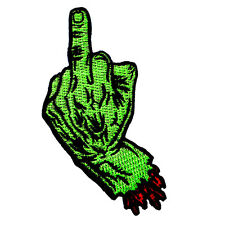 Middle Finger Hand Sign Rock Biker Punk Zombie Devil Embroidered Iron on Patch