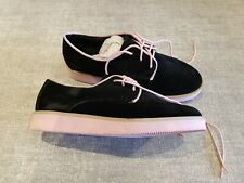 No Doubt size 3 (36) black faux suede pink lace up trainers creepers loafers