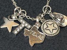 "Western I Love Texas Star & Hat Charm Tibetan Silver 18"" Necklace BIN"