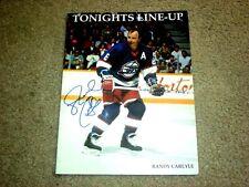 Randy Carlyle Winnipeg Jets Autographed Game Notes Magazine 2/19/92     COA