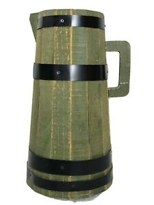 Hand Made Pitcher Vase Decor Wooden Tall Silk Flower Pot Vintage Green Accent.