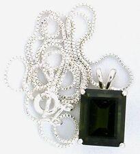 "5.20 Carat Emerald Moldavite Gemstone Sterling Silver Pendant 18"" Chain EBS4961"