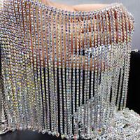 10cm Rhinestone Crystal Tassel Chain Trim Glitter Beaded Fringe Sewing Craft DIY