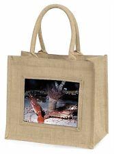 Sea Shrimp Large Natural Jute Shopping Bag Christmas Gift Idea, AF-25BLN