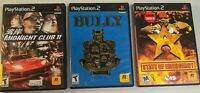 3 PS2 Game Lot - Bully + Midnight Club II + State of Emergency (PlayStation 2)