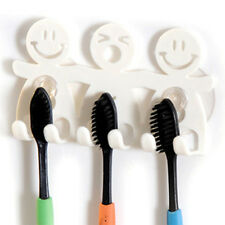 Home Bathroom Wall Mount Smile Face Toothbrush Suction Cups Holder Stand Ez