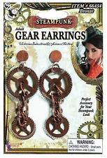 Adult Steampunk Victorian Era Gear Drop Earrings Costume Accessory Fm66454