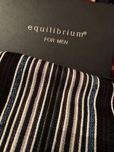 New In Box Mens Fringe Scarf Cashmere Feel Equilibrium For Men Navy Grey Stripe