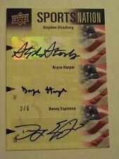 2011 Upper Deck Sports Nation Bryce Harper Stephen Strasburg Danny Espinosa Auto