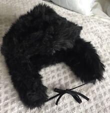 Black Faux Fur Winter Ski Hat Trapper Ear Flap Fashion Snow Hat Cap Small