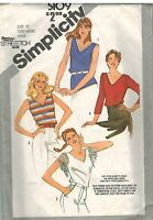5109 Vintage Simplicity Sewing Pattern Misses Pullover Tops Stretch Knits Casual