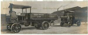 OLD PHOTO THE LITTLE GIANT TRACTION ENGINE 7 TRAILER R WHITE ALES VINTAGE 1908