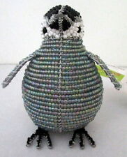 HANDWOVEN PEARLY SILVER GLASS BEAD & WIRE PENGUIN SCULPTURE BRAND NEW