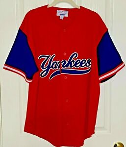 Starter New York NY Yankees Button Front Baseball Jersey Shirt LARGE