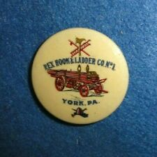 "ca. 1900 Fireman Celluloid 1 1/4"" Pinback Button, Horse Drawn Wagon Pictured."
