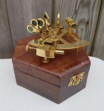 """4"""" laiton antique pocket sextant navigation nautique marine vintage boîte en bois"""