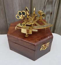 "4"" Antique Brass Pocket Sextant Navigation Nautical Marine Vintage Wooden Box"