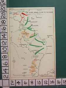 WW2 MAP ~ ALLIED ARMIES CLOSE TO THE RHINE 1st CANADIAN ARMY ARDENNES 1st US