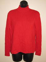 Women's Leyla Mitra 100% Cashmere Red Mock Turtleneck Sweater sz Small