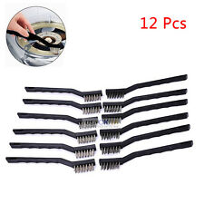 12x Stainless Steel Wire Brush Tooth Brushes Set Cleaning Rust Detailing Polish