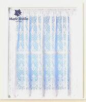 WHITE LACE FAN DESIGN SCALLOP HEM THICK JACQUARD  NET CURTAIN SOLD BY THE METRE