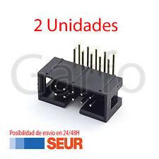 x2 Conector IDC Macho 10 Vias Pines PCB Acodado