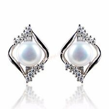 8-9mm Freshwater pearl CZ Stud Earrings Sterling Silver Square white Bridal Gift