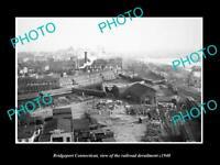 OLD LARGE HISTORIC PHOTO OF BRIDGEPORT CONNECTICUT, THE RAILROAD CRASH c1940