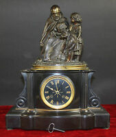 MANTEL CLOCK. EMILE ROBERT-HOUDIN. MARBLE AND BRONZE. FRANCE. 19TH CENTURY.