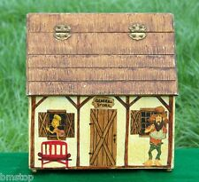 1969 RARE VINTAGE WOODEN BOX HOUSE PURSE DECOUPAGE OOAK HILLBILLY FOLKART