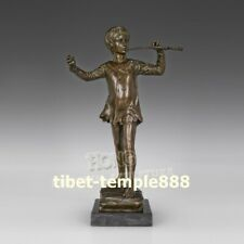30 cm Western Art deco pure Bronze Man boy juvenile young person flute Sculpture