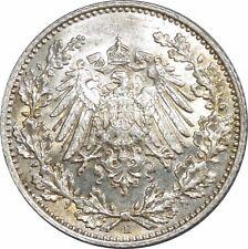 O405 Allemagne ½ Mark Wilhelm II 1916 E Muldenhütten Argent Silver UNC BU ->MO