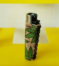 CLIPPER Lighter Cork Cover/Case - Rare Weed BIG LEAVES Design - Hand Sewn